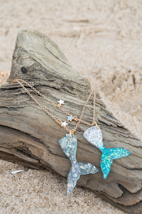 Mermaid Tail Necklace Blue