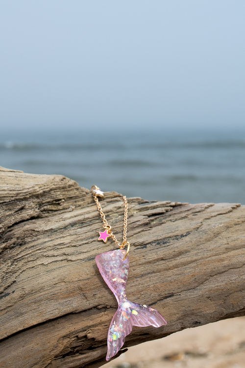 Mermaid Tail Necklace Pink