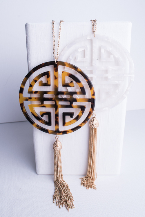 Laser Cut Tortoise Long Necklace
