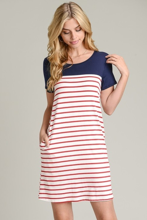 Color Block striped A Line Dress Red