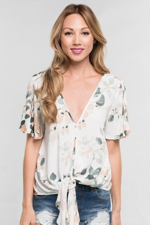 Mint Bouquet Short Sleeve Tie Front Shirt