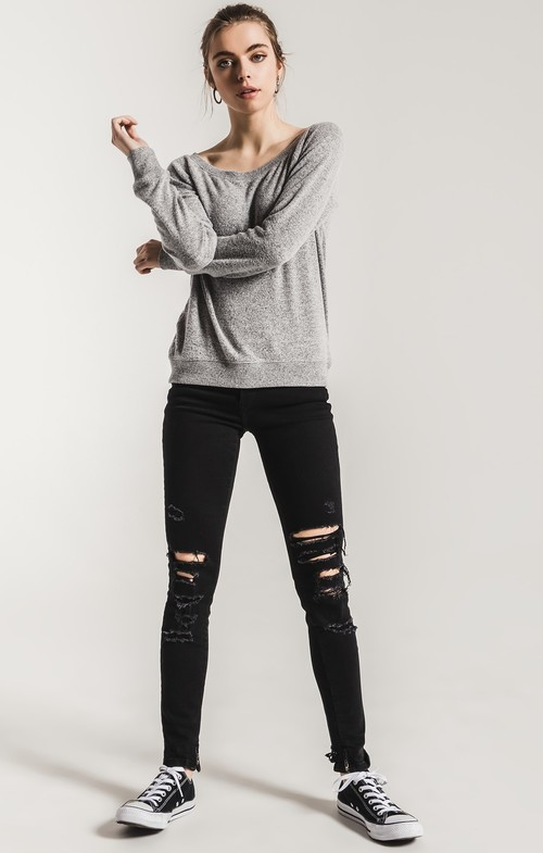 The Marled Off Shoulder Pull Over Heather Grey