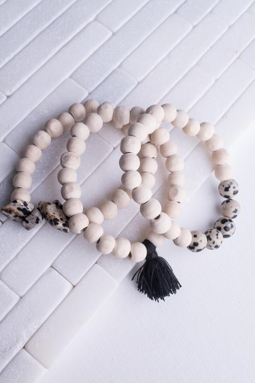Light Wood & Black Tassel Bracelet