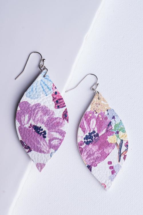 Floral Leatherette Dangle