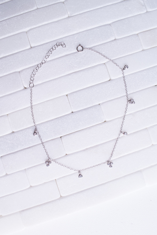 Double Chain CZ Drop Anklet Sterling