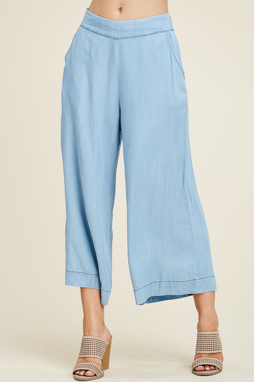Washed Denim Culottes With Pockets