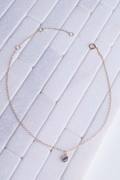 Simple Abalone Anklet- 14K Vermeil SS
