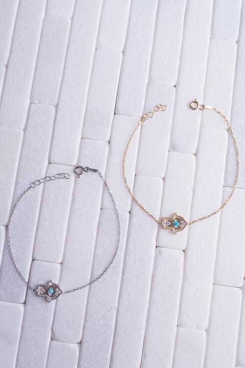 Turq Hamsa Hand Bracelet