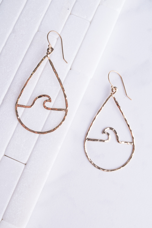 Peahi Wave Teardrop Dangle - 14K Plated