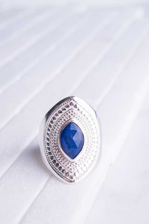 Lapis Marquise Shield Ring