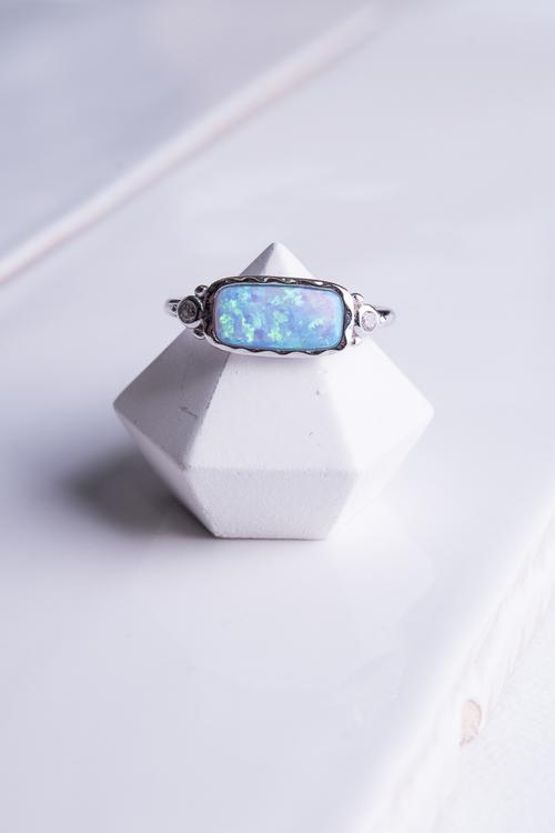 Opal CZ Rec Ring