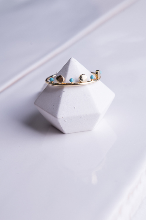 Turquoise & Dot Simple Ring