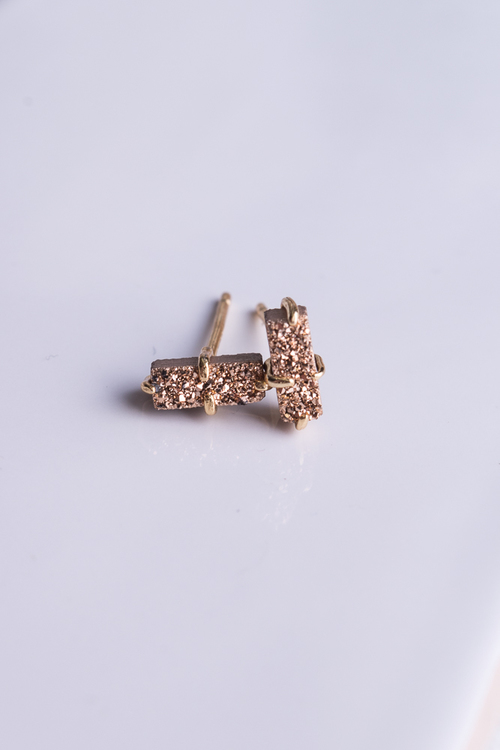 Rose Gold Bar Druzy Stud