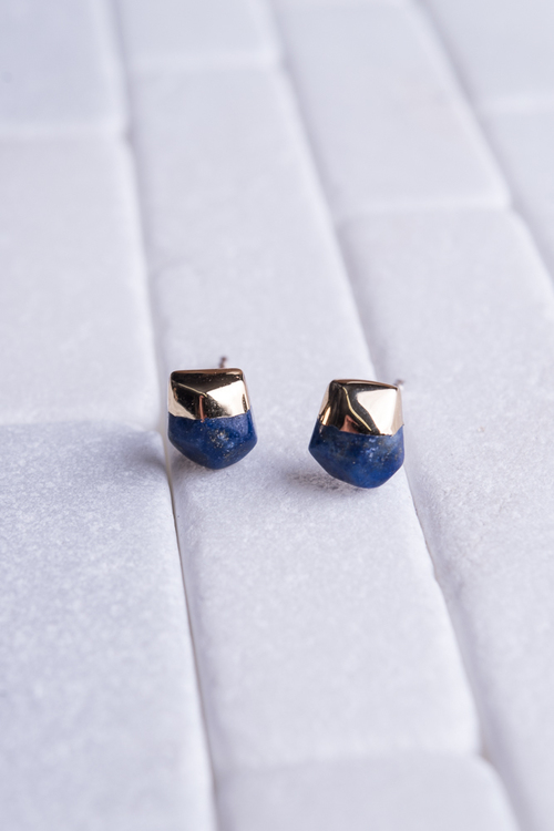 Lapis Gold Dipped Studs