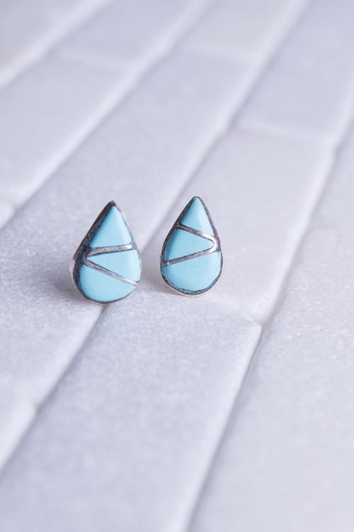 Navajo Teardrop Turquoise Sterling Stud