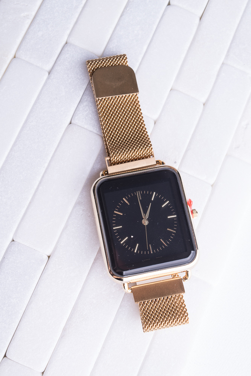 Gold Mesh Square Watch