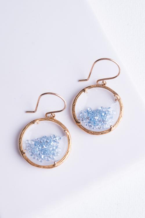 Gold Shaker Earring Aqua Crystals