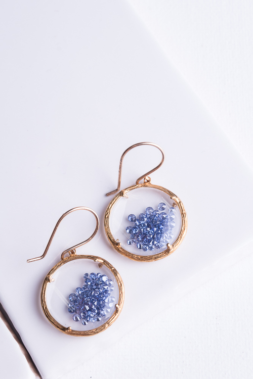 Gold Shaker Earring Sapphire Crystals