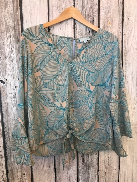 Vneck Printed Tie Front Long Sleeve Blouse Clay