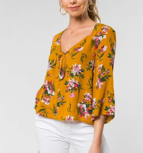 3/4 Floral Blouse With Front Tie