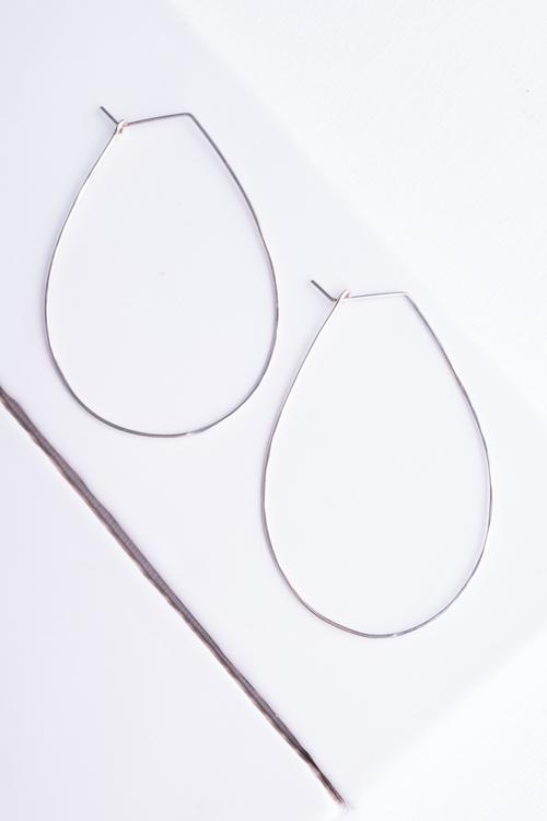 Pear Hoop Earrings Silver