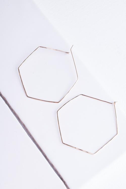 Large Hexagon Hoop Gold