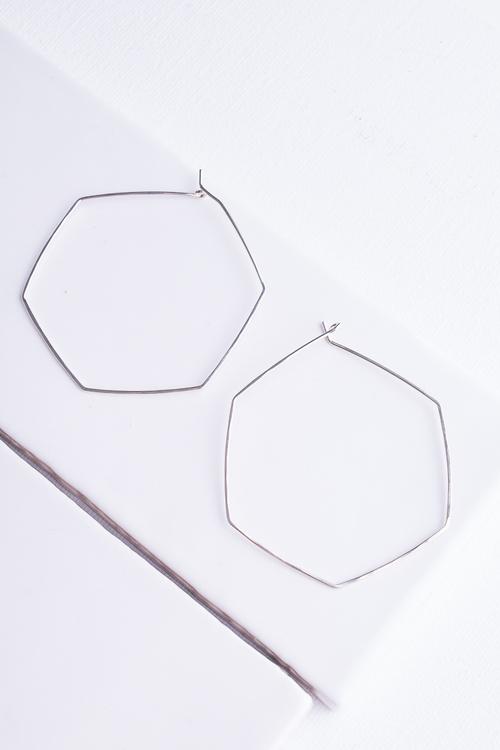 Large Hexagon Hoop Silver