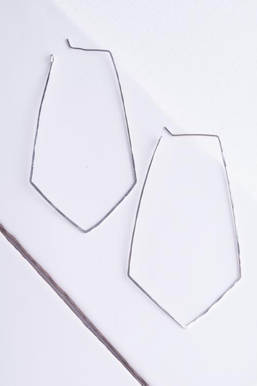 Kite Hoop Earrings Silver