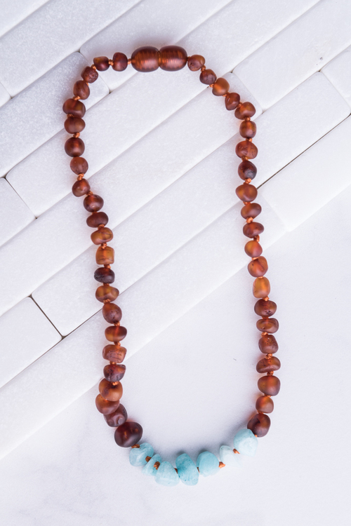 Amber & Amazonite Teething Necklace