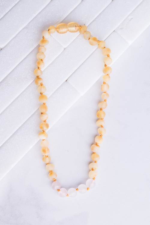 Amber & Rose Quartz Teething Necklace