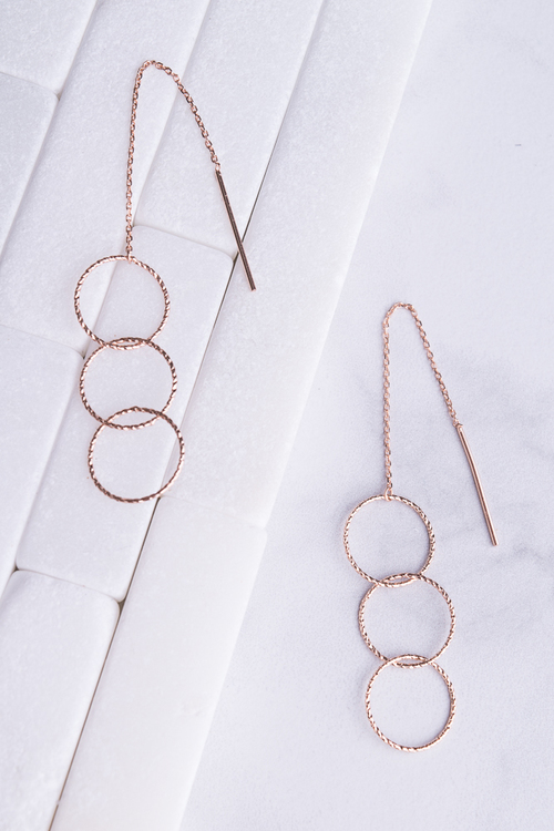 Triple Circle Threader Dangle Earring- Rose Gold Plated