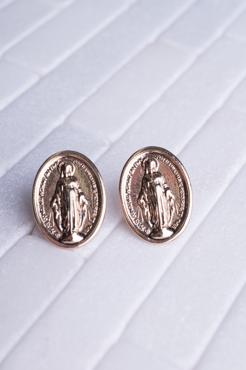 Virgin Mary Gold Oval Stud