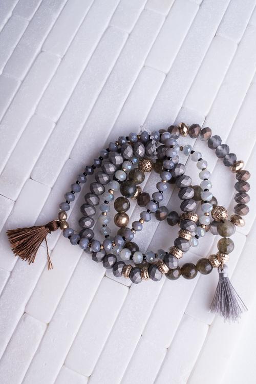 5 Strand Grey Bracelet Tassel Set