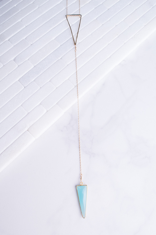 Aqua Triangle Long Necklace 14K Vermeil