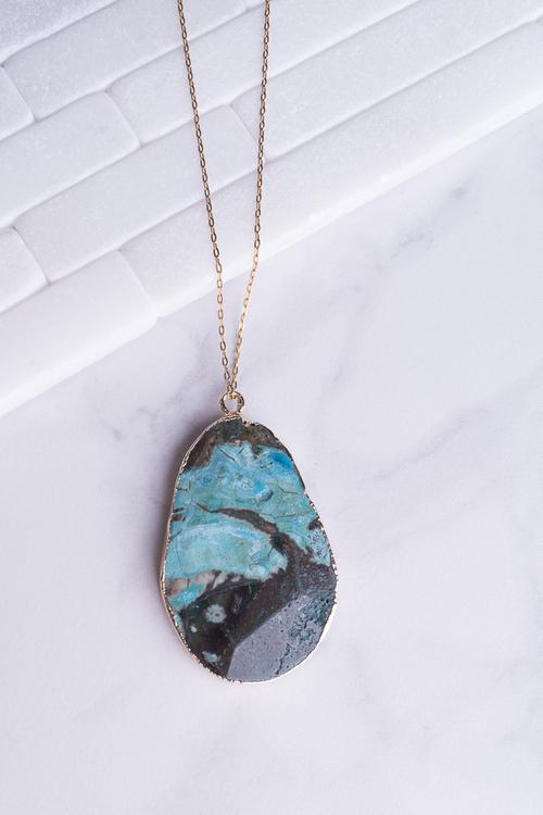 Ocean Jasper Pendant Necklace 24K Vermeil