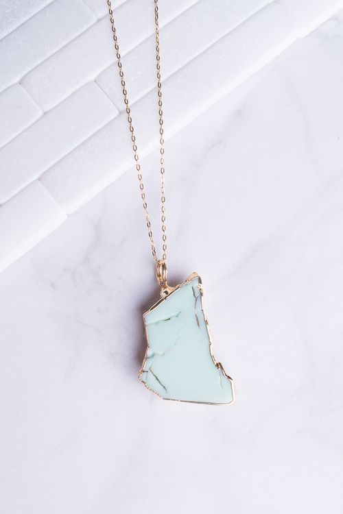 Amazonite Organic Pendant Necklace