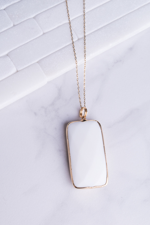 White Jade Rectangle Necklace