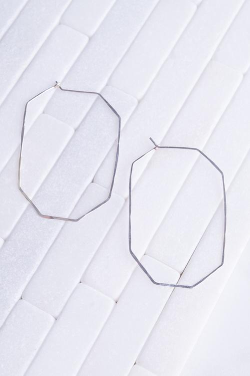 Gem Hoop Earring Silver