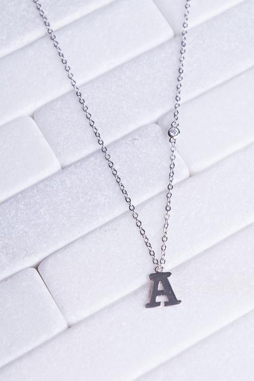 Initial Necklace w/ CZ Drop