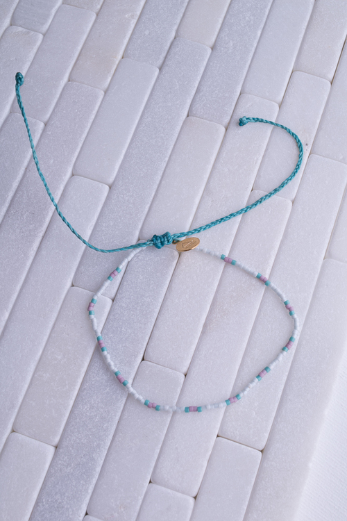 Teal & Plum Two Tone Dot Anklet