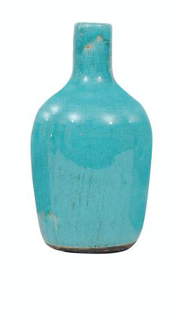 Large Teal Terra Cotta Vase