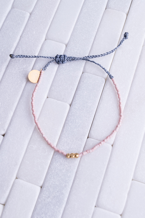 Coral & Denim Gold Bead Bracelet