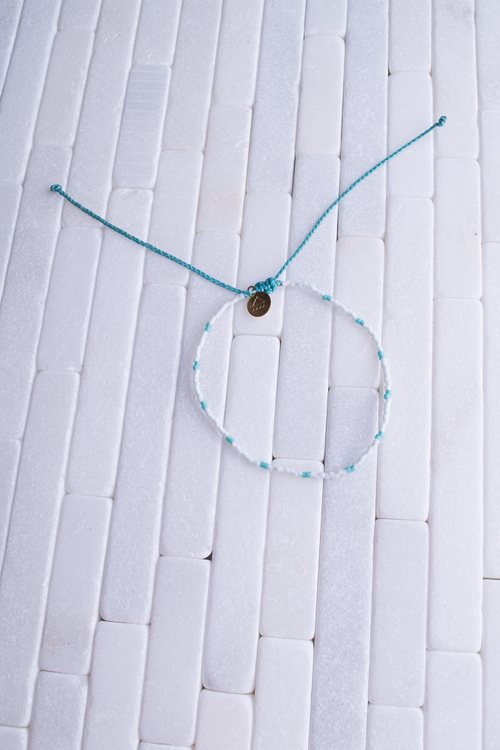 White & Turquoise Beaded Anklet