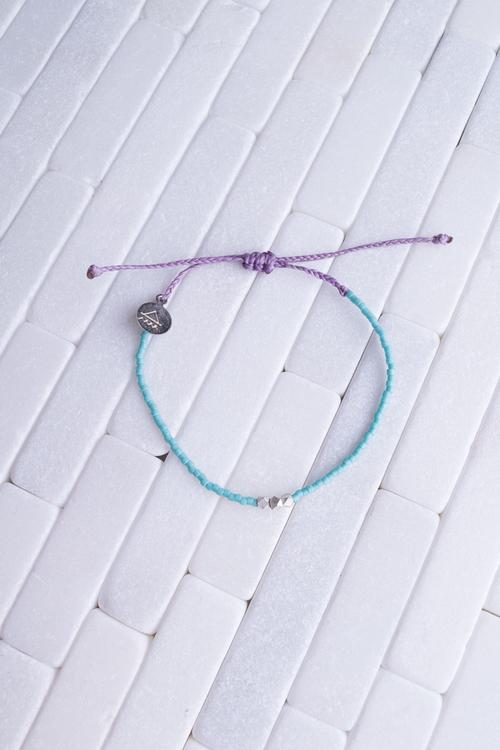 Teal & Plum Silver Bead Bracelet