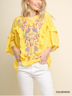 Multicolor Floral Embroidered Ruffled Top