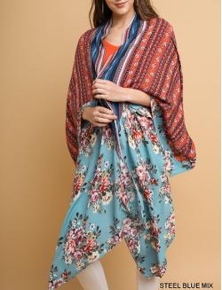 Multi Floral Paisley Print Long Kimono