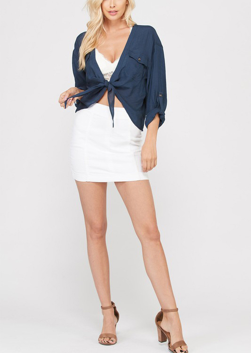 Tailored Denim Skirt