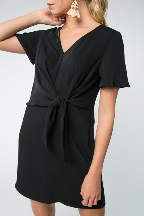 V Neck Shift Dress With Tie Front