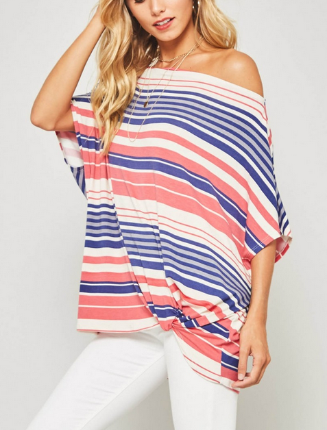 Striped Off The Shoulder Gathered Top