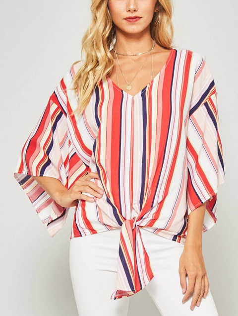 Striped V Neck Tie Front Top